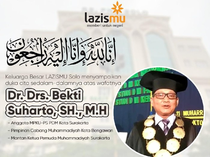 Dosen Universitas Muhammadiyah Surakarta (UMS) Bekti Suharto wafat, Kamis (17/9/2020).