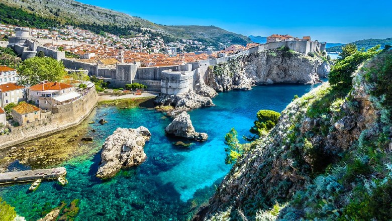 Aerial panoramic view at famous european travel destination, Dubrovnik cityscape on Adriatic Coast, Croatia.