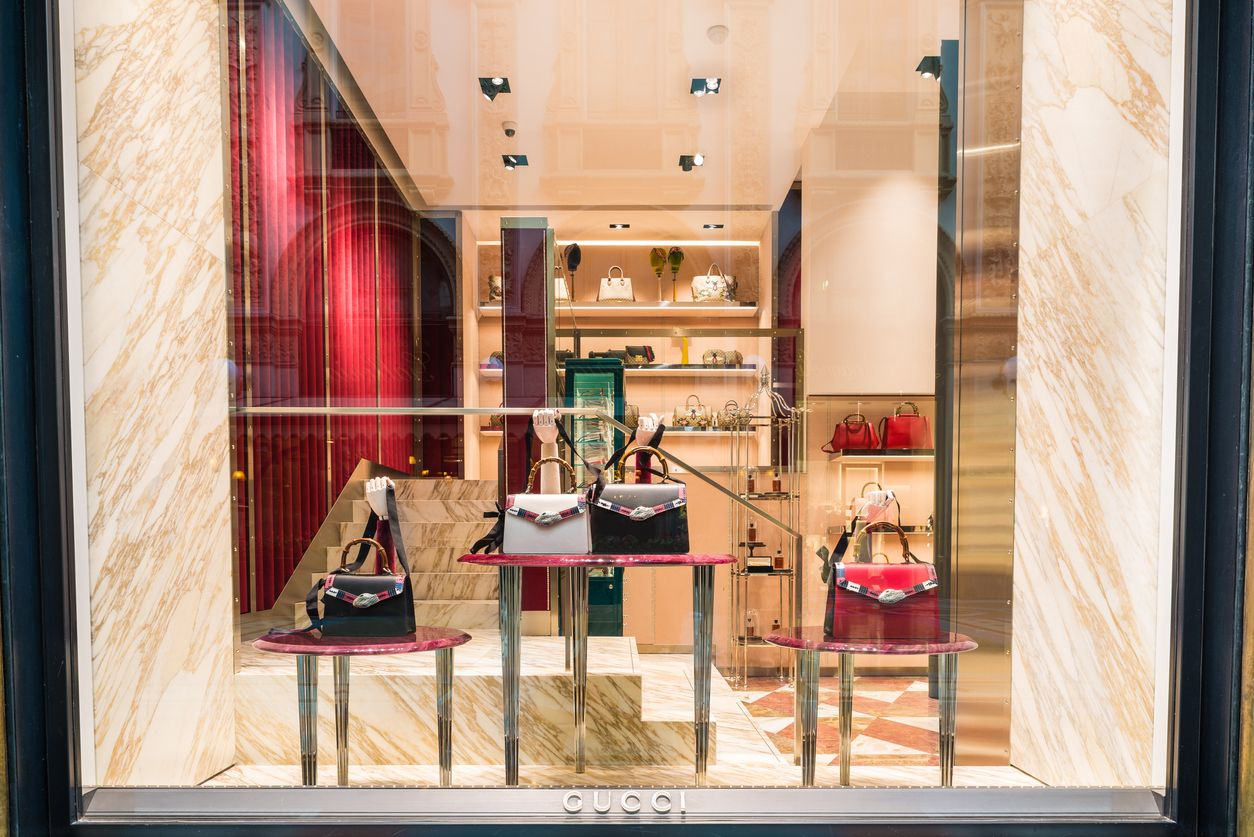 Milan, Italy - February 17, 2017: Gucci shop in an exclusive area of Milan. Symbol and concept of luxury, shopping, wealth, elegance and made in Italy