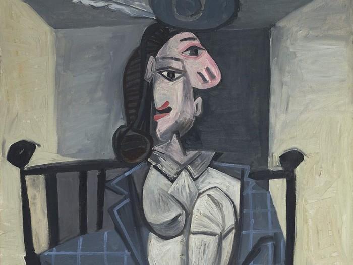 Lukisan Pablo Picasso Femme dans un fauteuil, 1941.