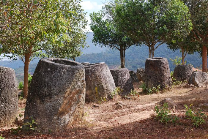 They are located near Phone Savan in Laos. There are about 300 jars. They are one to three metres high and around 2000 years old.
