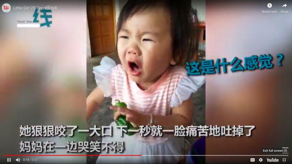 Ekspresi balita makan paprika hijau