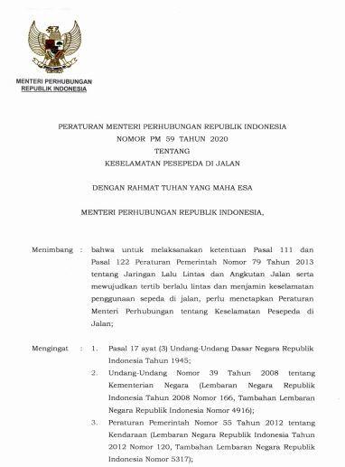 Hal 2, Peraturan Menteri Perhubungan No PM 59 Tahun 2020 Tentang Keselamatan Sepeda