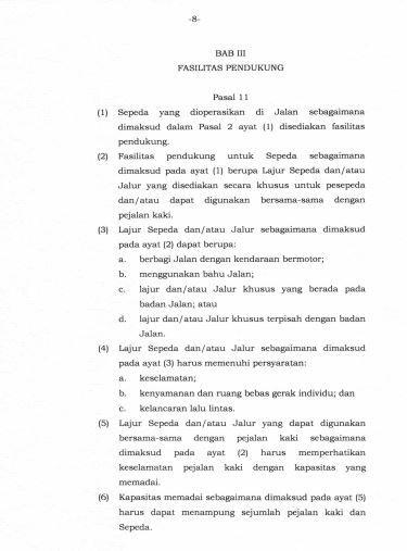 Peraturan Menteri Perhubungan No PM 59 Tahun 2020 Tentang Keselamatan Sepeda