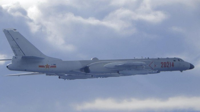 In this photo released by the Taiwan Ministry of National Defense, a Chinese Peoples Liberation Army H-6 bomber is seen flying near the Taiwan air defense identification zone, ADIZ, near Taiwan on Friday, Sept. 18, 2020. The second high-level U.S. envoy to visit Taiwan in two months began a day of closed-door meetings Friday as China conducted military drills near the Taiwan Strait after threatening retaliation. (Taiwan Ministry of National Defense via AP)