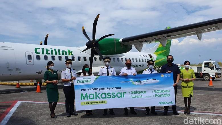 Maskapai penerbangan Citilink membuka empat rute baru di Kawasan Timur Indonesia untuk penerbangan dari Bandar Udara Internasional Sultan Hasanuddin, Makassar menuju Baubau, Pomala, Luwu (Palopo) dan Selayar mulai Kamis (17/9/2020).