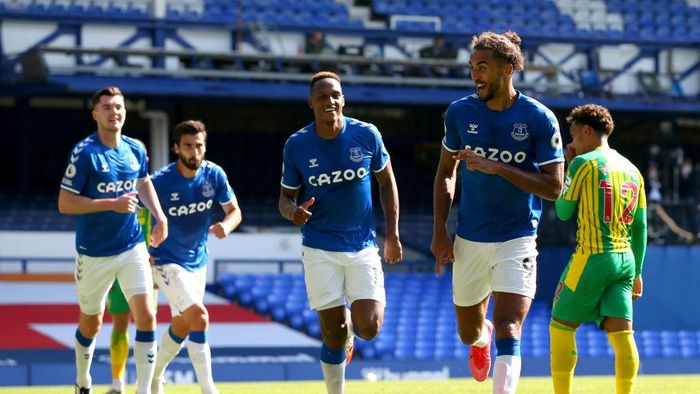 LIVERPOOL, ENGLAND - SEPTEMBER 19: Dominic Calvert-Lewin of Everton celebrates after scoring his teams fifth goal during the Premier League match between Everton and West Bromwich Albion at Goodison Park on September 19, 2020 in Liverpool, England. (Photo by Alex Livesey/Getty Images)