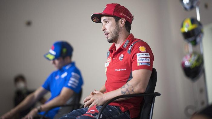 MISANO ADRIATICO, ITALY - SEPTEMBER 17: Andrea Dovizioso of Italy and Ducati Team  speaks during the press conference pre - event during the MotoGP Of San Marino - Previews at Misano World Circuit on September 17, 2020 in Misano Adriatico, Italy. (Photo by Mirco Lazzari gp/Getty Images)