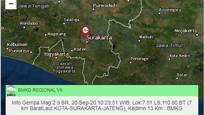 Gempa darat M 2,9 terjadi di Solo pukul 10.23 WIB, Minggu (20/9/2020).