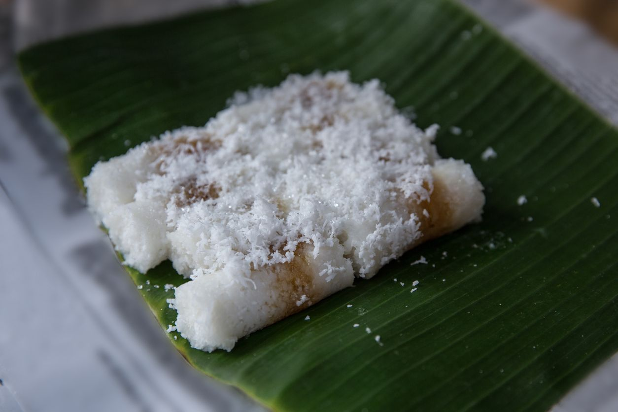 jajan putu, traditional cake made from coconut and rice flour