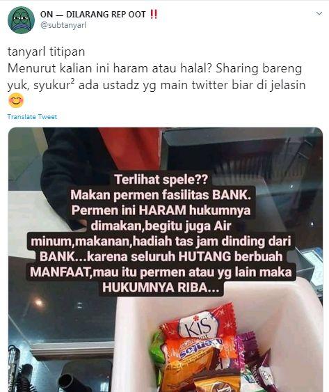 Hukum makan perman suguhan dari Bank