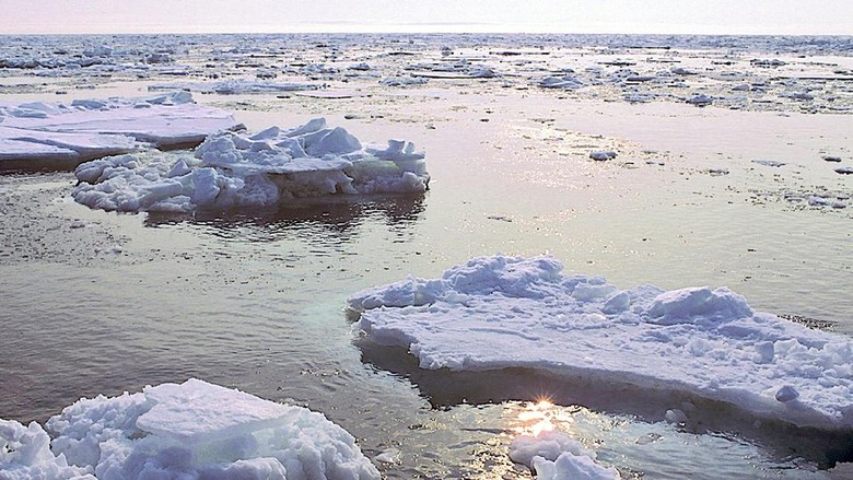 Huge chunks of Bering Sea ice drift ashore on St. Lawrence Island in Alaska. Climate change has changed this scene. There is less ice today, an earlier breakup, and shoreline erosion that once was prevented by the ice piling ashore.