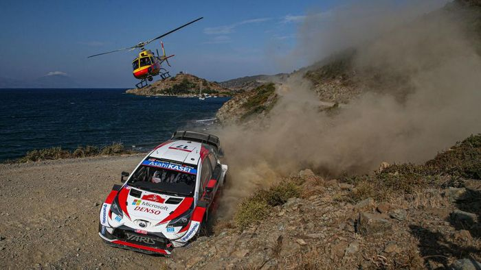 MARMARIS, TURKEY - SEPTEMBER 19:  Kalle Rovanpera of Finland and Jonne Halttunen of Finland compete with their Toyota Gazoo Racing WRT Toyota Yaris WRC during Day One of the FIA World Rally Championship Turkey on September 19, 2020 in MARMARIS, Turkey.  (Photo by Massimo Bettiol/Getty Images)