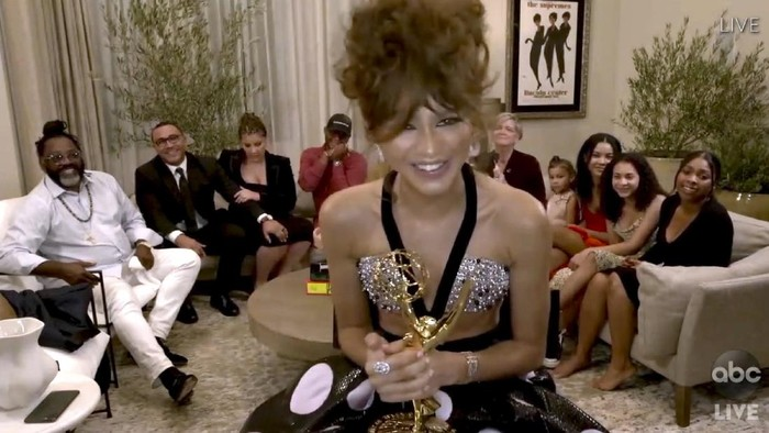 In this video grab captured on Sept. 20, 2020, courtesy of the Academy of Television Arts & Sciences and ABC Entertainment, Zendaya accepts the award for outstanding lead actress in a drama series for Euphoria during the 72nd Emmy Awards broadcast. (The Television Academy and ABC Entertainment via AP)