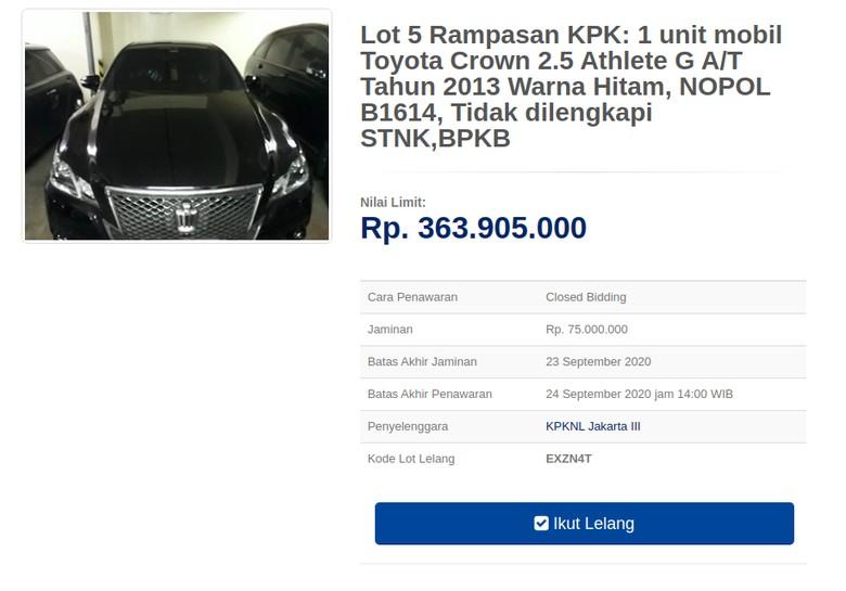 Toyota Crown rampasan KPK dilelang Rp 300 jutaan.