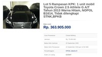 Toyota Crown Koruptor Dilelang Rp 300 Jutaan, Minat?