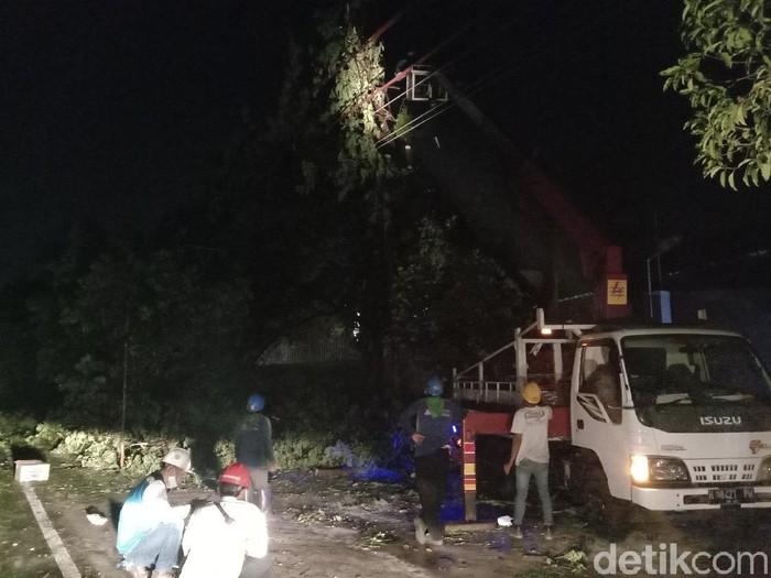 Petugas PLN melakukan perimbasan pohon di Jalan Jati, Kecamatan Jati, Kudus, Selasa (22/9/2020).
