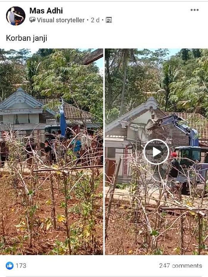 Rumah di Ponorogo Viral Usai Dirobohkan Anak Kandung