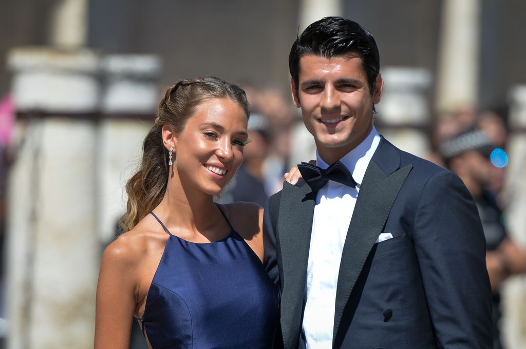SEVILLE, SPAIN - JUNE 15: Alvaro Morata and wife Alice Campello attend the wedding of real Madrid football player Sergio Ramos and Tv presenter Pilar Rubio at Seville's Cathedral on June 15, 2019 in Seville, Spain. (Photo by Aitor Alcalde/Getty Images)