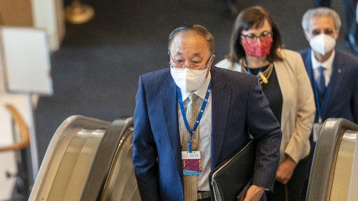 Chinese Ambassador to the United Nations Zhang Jun arrives for the 75th session of the United Nations General Assembly, Tuesday, Sept. 22, 2020, at U.N. headquarters. This years annual gathering of world leaders at U.N. headquarters will be almost entirely virtual. Leaders have been asked to pre-record their speeches, which will be shown in the General Assembly chamber, where each of the 193 U.N. member nations are allowed to have one diplomat present. (AP Photo/Mary Altaffer)