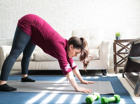 Side view of attractive pregnant woman practicing downward dog pose on exercise mat at home