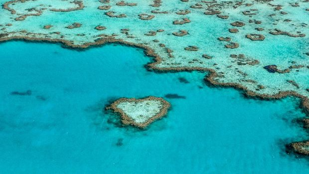 Heart Reef in the Great Barrier Reef in Queensland, Australia.
