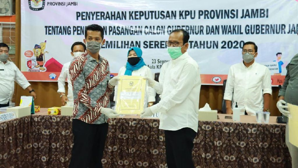 KPU Resmi Tetapkan 3 Paslon di Pilgub Jambi, Termasuk Petahana