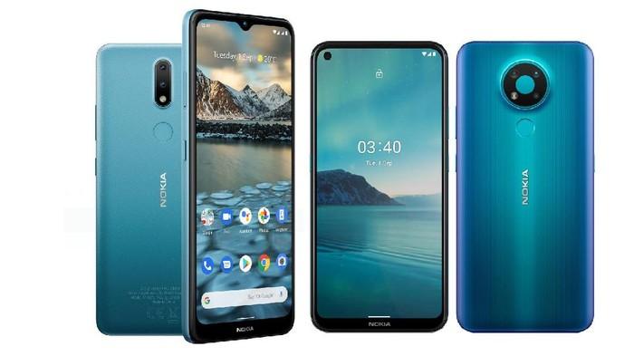Nokia 2.4 (kiri) dan Nokia 3.4 (kanan)