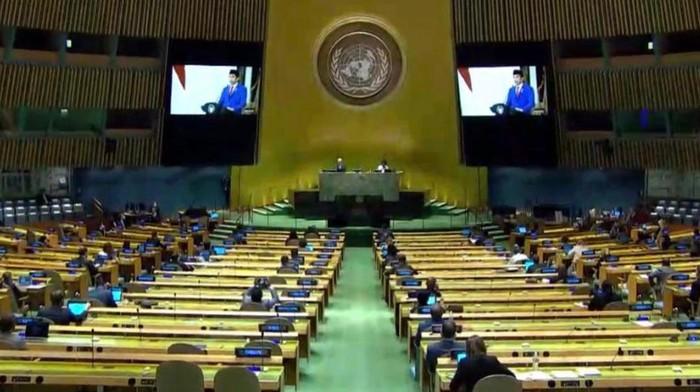 Presiden Jokowi saat berpidato di Sidang Umum PBB