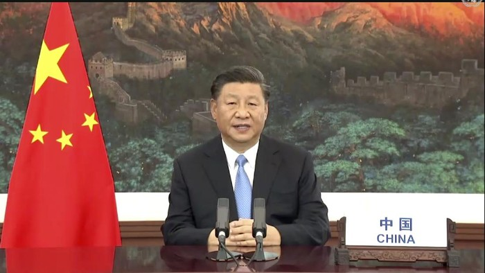 In this image made from UNTV video, Chinese President Xi Jinping speaks in a pre-recorded message which was played during the 75th session of the United Nations General Assembly, Tuesday, Sept. 22, 2020, at U.N. headquarters in New York. The U.N.s first virtual meeting of world leaders started Tuesday with pre-recorded speeches from some of the planets biggest powers, kept at home by the coronavirus pandemic that will likely be a dominant theme at their video gathering this year. (UNTV via AP)