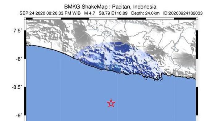 Gempa M 4,7 guncang Pacitan, Kamis (24/9/2020).