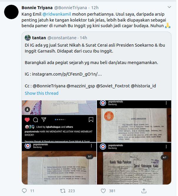 Pemerhati sejarah Bonnie Triyana menyinggung Gubernur Jabar Ridwan Kamil soal surat nikah Presiden Soekarn.
