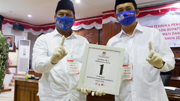 Pasangan calon Bupati dan Wakil Bupati Rembang, Harno - Bayu Andriyanto mendapatkan nomor urut 1 pada Pilkada Rembang 9 Desember 2020 mendatang.