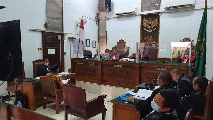 Saksi, Husein Shahab, ketika bersaksi di sidang kasus Ruslan Buton di PN Jaksel, Kamis (24/9/2020).