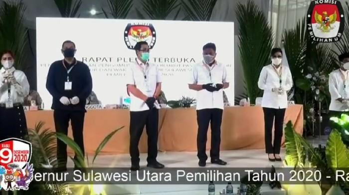 Tiga paslon yang akan bersaing di Pilgub Sulut (Screenshot live streaming KPU)