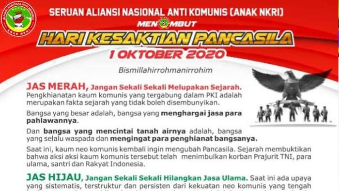 Seruan ANAK NKRI terkait Hari Kesaktian Pancasila.