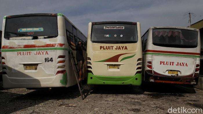 Dampak pandemi berpengaruh ke sektor transportasi. Salah satunya armada bus pariwisata Pluit Jaya yang kini sudah di ujung tanduk.