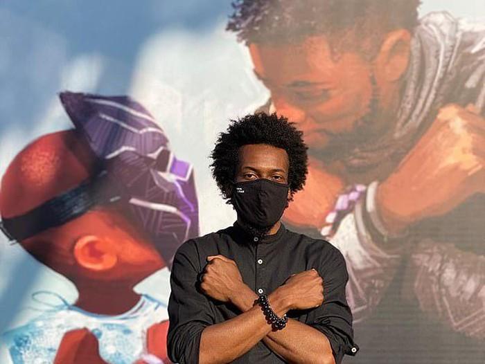 Mural Chadwick Boseman di Anaheim, California