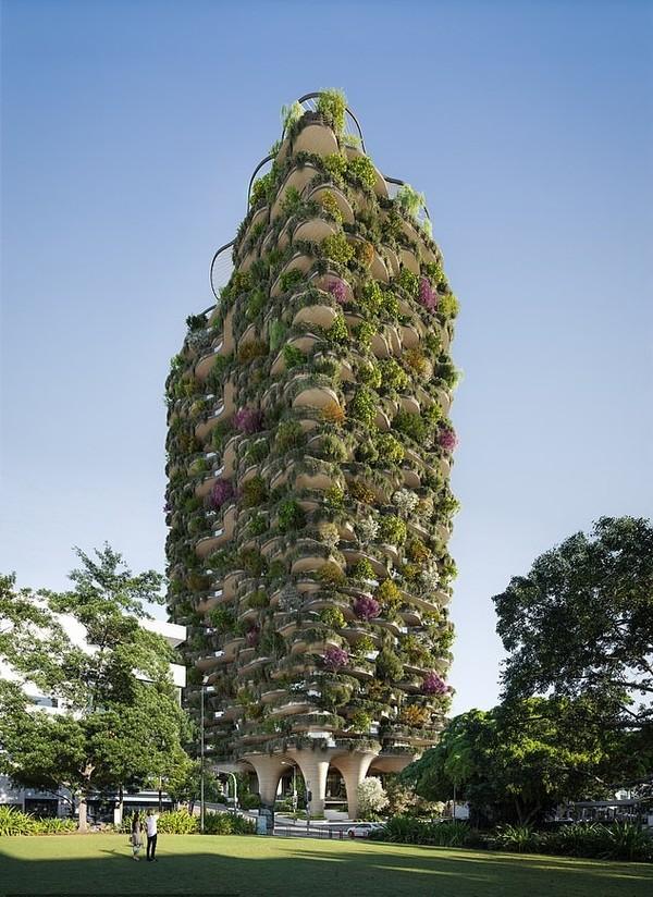 Berdiri setinggi 30 lantai, gedung ini akan ditanami 20 ribu pohon. Dari bentuknya, gedung ini pun tampak seperti sebuah pohon raksasa. (dok. Binyan Studios/Aria Property Group)