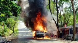 Pikap Terbakar di Palabuhanratu Sukabumi