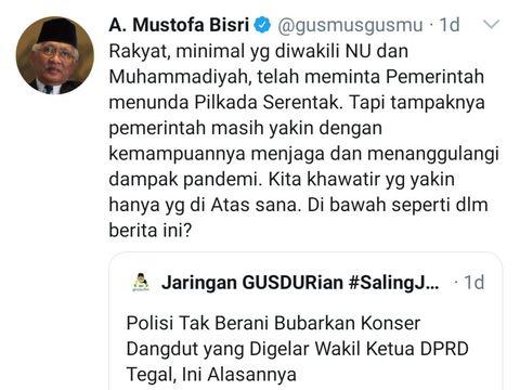 Tangkapan layar akun Twitter KH Ahmad Mustofa Bisri @gusmusgusmu, Jumat (25/9/2020).