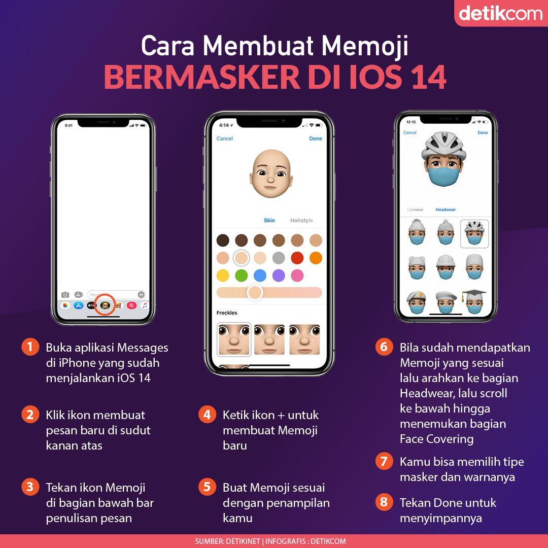 Infografis Membuat Memoji Bermasker di iOS 14
