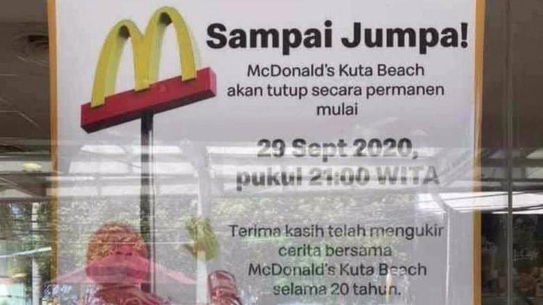 Poster pengumuman rencana penutupan McDonalds Kuta.