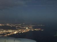 Kota Athena di malam hari tampak dari atas pesawat. (Foto: Ristiyanti Handayani/dtraveler)