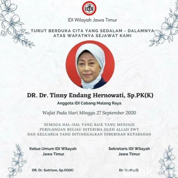dokter ahli patologi klinik meninggal setelah terpapar virus COVID-19. Dia adalah Dr Tinny Endang Hernowati Sp.PK.