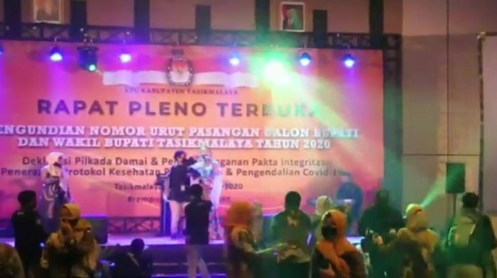 Heboh video dangdutan berlatar spanduk rapat pleno KPU Tasikmalaya