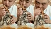 Lihat Pria Mukbang Babat, Netizen Sebut Kayak Makan Kain Lap Kotor