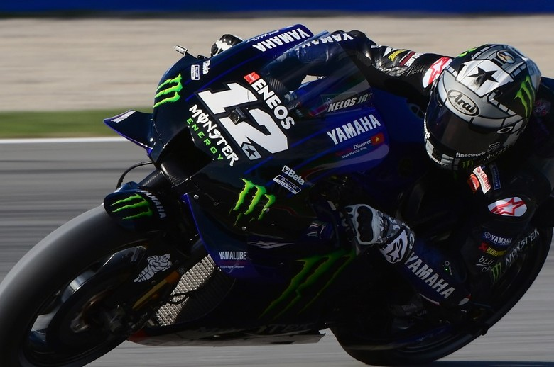 Monster Energy Yamaha Spanish rider Maverick Vinales rides during the third MotoGP free practice session of the Moto Grand Prix de Catalunya at the Circuit de Catalunya on September 26, 2020 in Montmelo on the outskirts of Barcelona. (Photo by LLUIS GENE / AFP)
