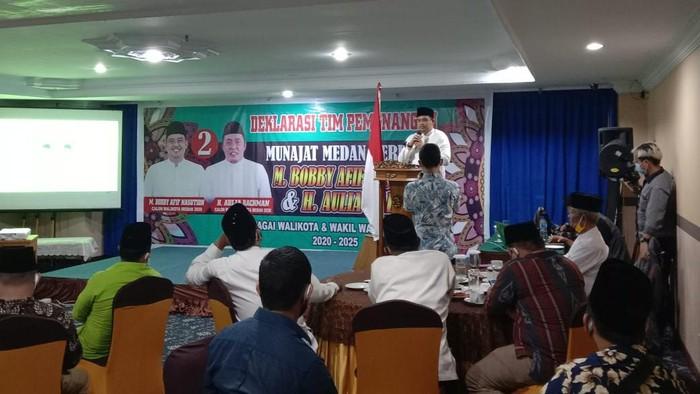 Bobby di acara deklarasi dukungan ustaz-ustazah Al-Washliyah (Ahmad Arfah-detikcom)