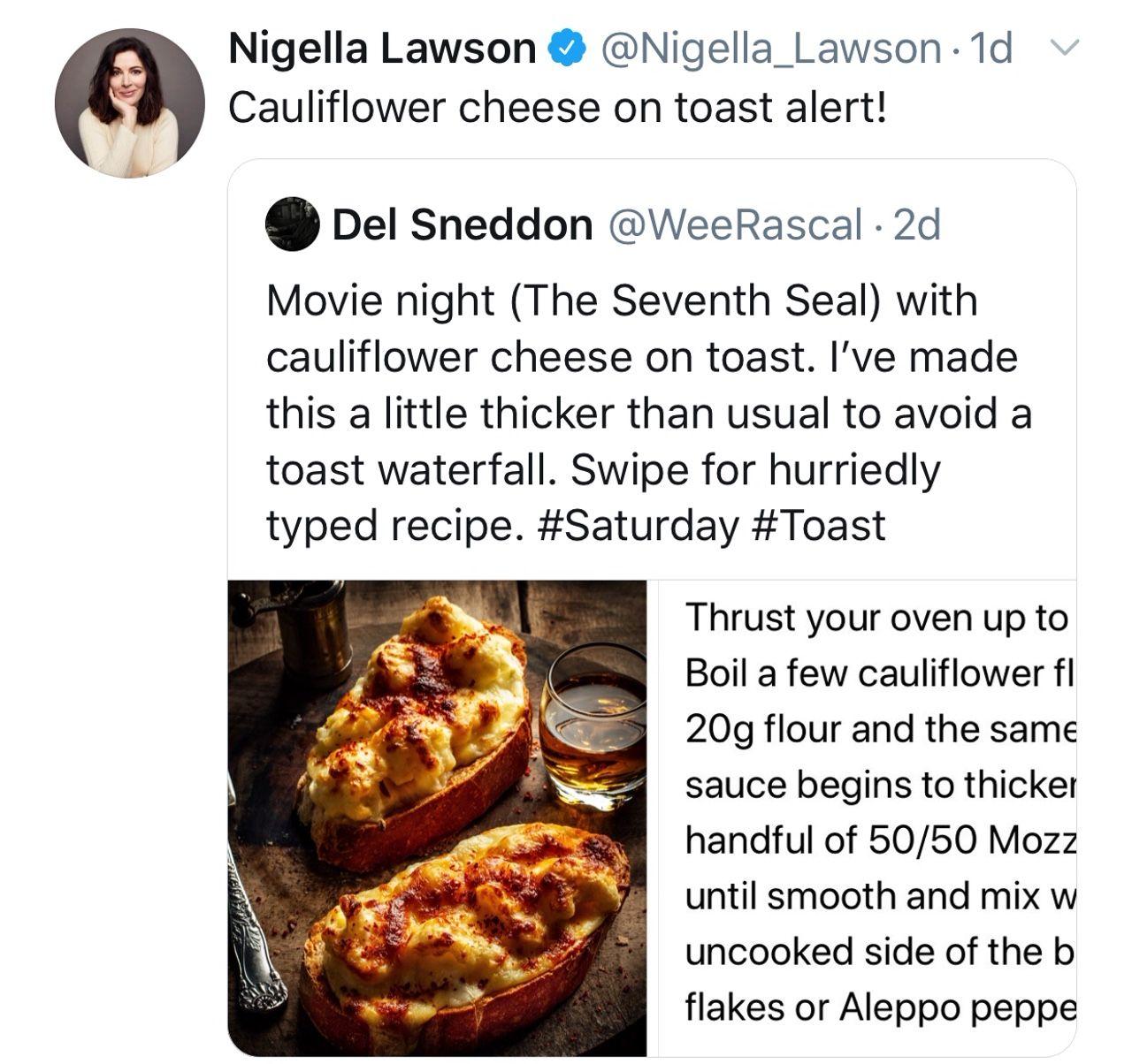 Cauliflower Cheese On Toast